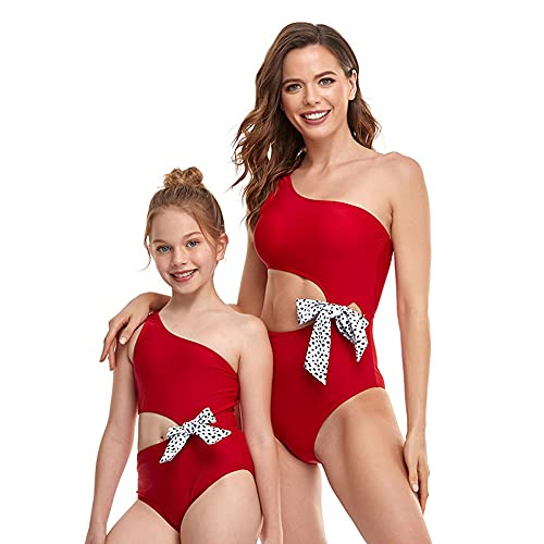 Bonfor Bikini Niña 2-12 años & Bikinis Mujer 2021 Brasileños Braga Alta Marca Hombro Oblicuo - Ropa de Baño Madre e Hija, Tajes de Baño de Dos Piezas (Rojo, 8-10 años)