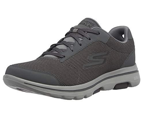 Skechers mens Gowalk 5 Demitasse - Textured Knit Lace Up Performance Walking Shoe Sneaker,Charcoal/Black,9.5 M US
