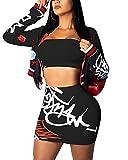 ECHOINE Women's Sexy 2 Piece Suits Crop Top Mini Skirt Bodycon Clubwear Dresses Sets Black L