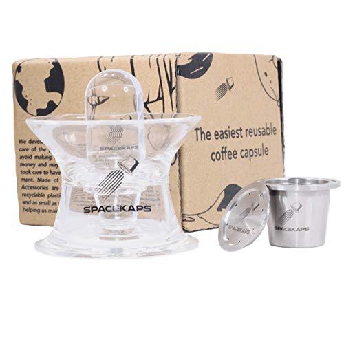 Spacekaps - La cápsula de acero inoxidable más fácil de usar Cápsula Nespresso original compatible con Nespresso. El único con accesorios incluidos. Rellenable y fácil de limpiar