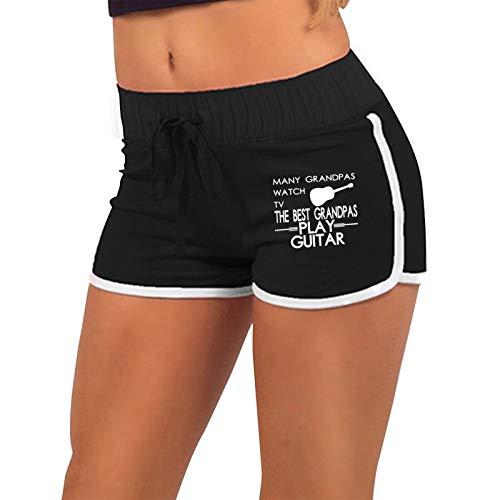 Women's Sexy Booty Shorts Many Grandpas Watch TV Best Grandpas Play Guitar Low-Waist Gym Workout Raves Hot Pants Black