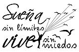 Docliick Vinilos de pared decorativo con frase decorativa motivadora'SUEÑA SIN MIEDOS VIVE SIN.' Pegatinas decorativas pared. Decoración casa Docliick DC-19150 (Vinilo de corte, 30x20cm)
