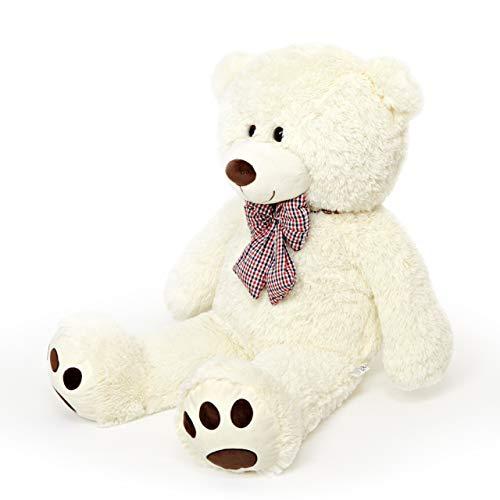 Lumaland Riesen XXL Teddybär 120 cm mit Kulleraugen und Schleife Plüsch Kuschelbär samtig weich Schmusetier Kuscheltier Groß Valentinstag - Beige