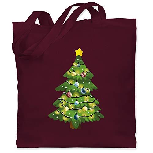 Weihnachten & Silvester - Weihnachtsbaum - Unisize - Bordeauxrot - Geschenk - WM101 - Stoffbeutel aus Baumwolle Jutebeutel lange Henkel