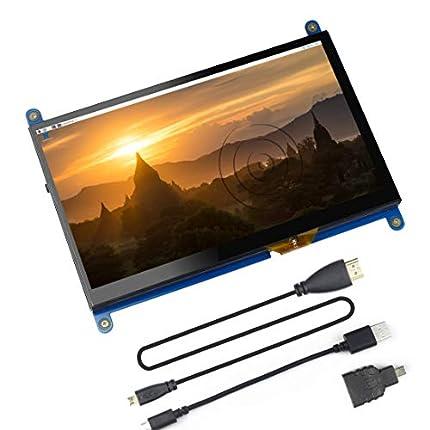 Jun_Electronic para Raspberry Pi 4 Screen, Monitor táctil Capacitivo IPS HDMI de 7 Pulgadas - Pantalla LCD HD de 1024 * 600 (Sistema Raspbian Buster Compatible)