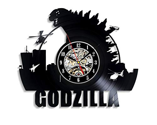 Levescale - Godzilla Vinyl Wall Clock King Kong - Perfect Moster Gift for Boy, Man Or Kids - Decoration for Play Room, Living Room - Monkey Movie Evolution Fantasy