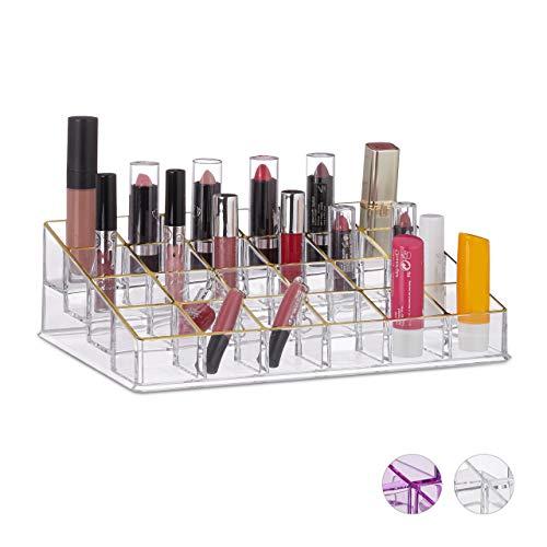 Relaxdays Lippenstifthalter, Acryl, Kosmetik Organizer für Lippenstift, Nagellack, Make Up, 24...