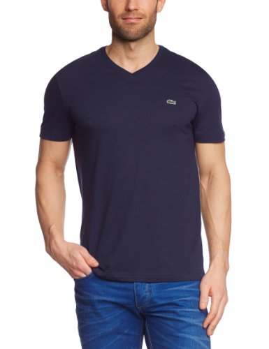 Lacoste Herren TH2036-00 T-Shirt, Blau (Navy Blue 166), Small (Herstellergröße: 3)