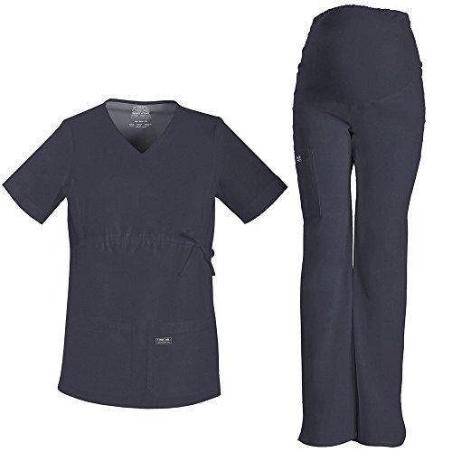 Cherokee Core Stretch Women's Maternity Scrub Top & Scrub Pant Set XX-Large Black