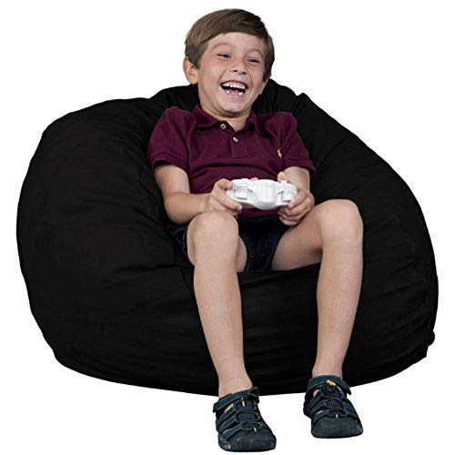 FUGU Bean Bag Chair, Premium Foam Filled 8 XL, Protective Liner Plus Removable Machine Wash Black Cover