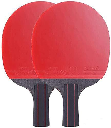 RJJBYY Pala de tenis de mesa portátil para interior y exterior, de fibra de carbono, juego de 2 palas de ping-pong con empuñaduras de goma para principiantes