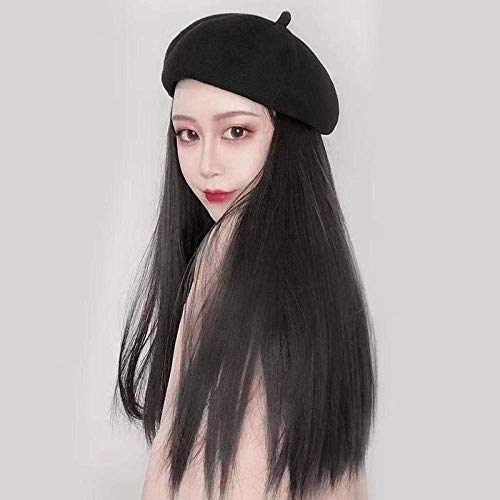 BGHJUE Bailey hat wig one female winter long curly hair straight hair natural simulation autumn hair with hat trend