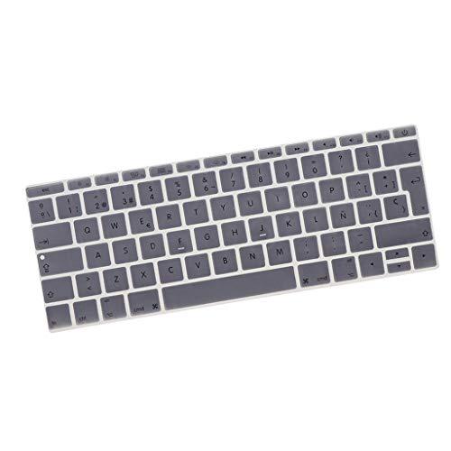 KESOTO Soft Touch Thin Wasserdicht Waschbar Silikon Tastaturschutz Spanisch Phonetic Keyboard Film Europäisch Passend für 12 Zoll - Silber-