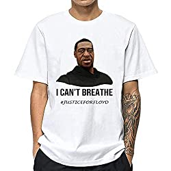 ブラックライフマターリップジョージフロイドメンズTシャツは呼吸できません夏とヨーロッパの半袖で快適な 白S-4XL