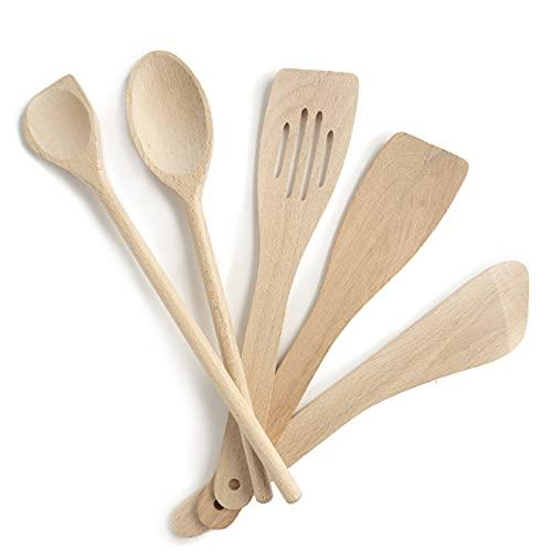 Utensilios de cocina de madera, Juego de 5, juego completo, Made in EU, 1 cuchara grande, 1 espátula de mortero, 1 espátula biselada, 1 cuchara batidora de repostería, 1 espátula curvada