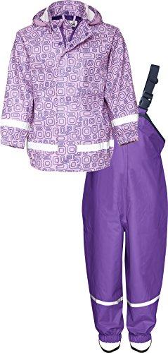 Playshoes Kinder Regenanzug, Zweiteiliger Matsch-Anzug für Jungen und Mädchen mit abnehmbarer Kapuze, mit Ornament-Muster, Lila, 98
