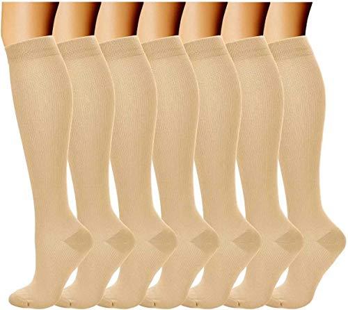 Acexy Calcetines de compresión (7 pares) para mujeres y hombres, para correr, enfermeras, circulación y recuperación (Beige, S/M)