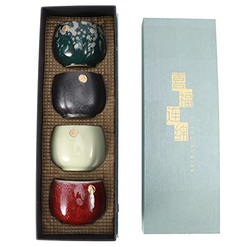 4-teiliges Keramik-Teetassen-Set, Retro-Teebecher im chinesischen/japanischen Stil Kung Fu Teaware Sake Cup, Geschenkset(#1)