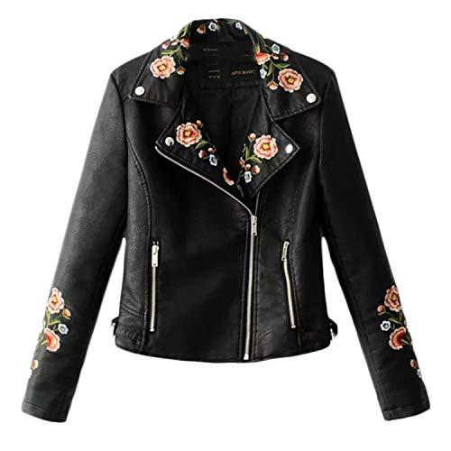 JIER Damen Kunstlederjacke mit Stickerei PU Lederjacke Bikerjacke Kurzjacke Übergangsjacke Leather Jacket Outwear mit Reißverschluss Herbst Frühling (Schwarz,X-Large)