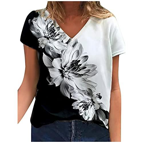 Camiseta de verano para mujer, parte superior de crisantemo, rosa, peonía, mariposa, estampado floral, manga corta, cuello en V, talla grande, color negro, blanco y rojo Negro XL