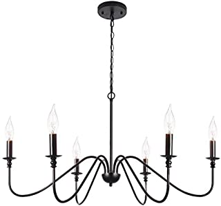 T&A Black 6-Light Chandeliers,Classic Candle Ceiling...