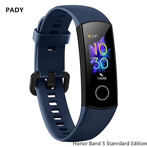 luckyruby Original Honor Band 5 Smart Bracelet 3 Color AMOLED Screen Blood Oxygen Heart Rate Fitness Tracker Sport Waterproof Smartband All-in-One Activity Tracker 5ATM Waterproof (Blue-Honor Band 5)