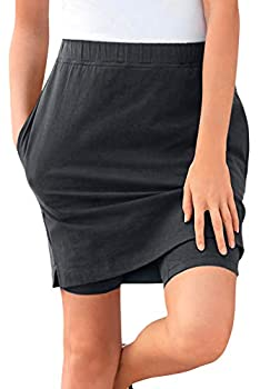 Woman Within Women s Plus Size Stretch Cotton Skort - M Black