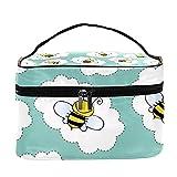 Bolsa de maquillaje de viaje con diseño de abejas de insectos de dibujos animados, bolsa de maquillaje, organizador con cremallera, para mujeres y niñas