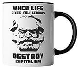 vanVerden Tasse - Karl Marx Destroy Capitalism Kapitalismus DDR - beidseitig Bedruckt - Geschenk Idee Kaffeetassen mit Spruch, Tassenfarbe:Weiß/Schwarz