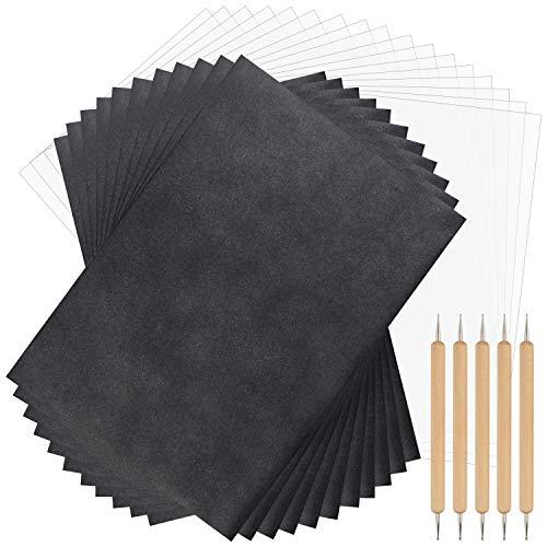 TUPARKA 250 Blatt Kohlepapier und Pauspapier mit 5-teiligen Prägestiften, schwarzes Carbon papier zum Aufzeichnen