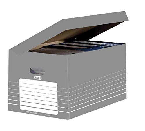 ELBA 400061159 Systemcontainer tric mit Klappdeckel zur Archivierung von 5 Ordnern oder 4 Archivboxen (10 cm breit) in der Farbe grau