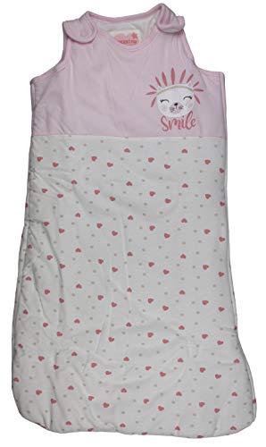 Baby Schlafsack wattiert Babyschlafsack ärmellos Rosa Herzen 70 cm