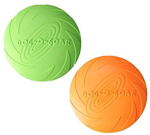 2 Stücke Hund Frisbee, Hund fliegenDe Scheibe langlebige Hund Spielzeug, Natur Gummi schwimmende fliegende Untertasse für Wasser Pool Strand