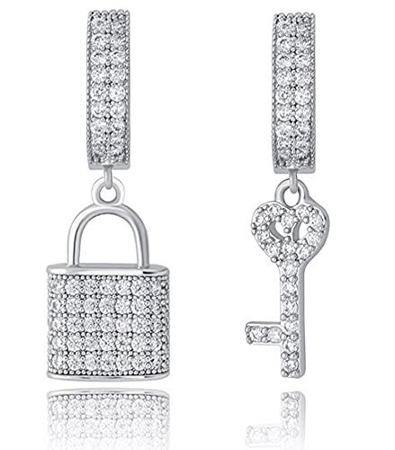CHXISHOP Pendientes de llave con cerradura para mujer llenos de circonio chapado en oro real Hip Hop pendientes de moda joyería de plata