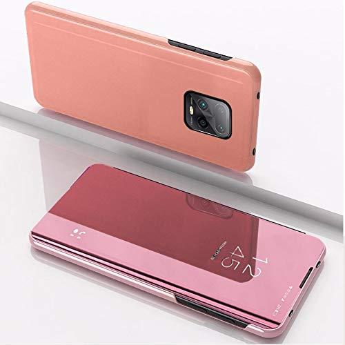 Cajas de Cuero LJR para Xiaomi Redmi 10x Pro 5G Espejo Completo Completo Horizontal Funda con Titular (Color : Rose Gold)