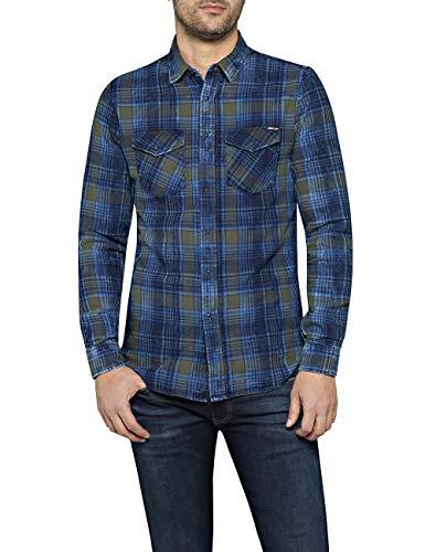 Replay Herren M4998 .000.52138 Freizeithemd, Blau (Navy/Blue/Grey 10), Medium (Herstellergröße: M)