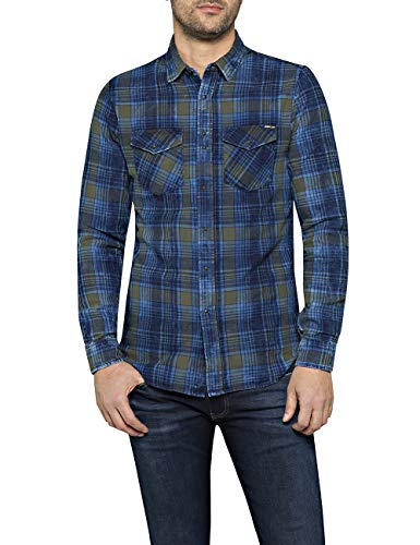 REPLAY M4998 .000.52138 Camisa, Azul (Navy/Blue/Grey 10), Medium para Hombre