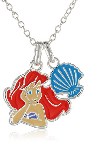 Disney Girls' Little Mermaid Enameled Necklace with Two Charms