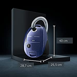 Siemens Bodenstaubsauger mit Beutel VS06A111, sehr niedriger Stromverbrauch, HighPower Motor, XL Beutelvolumen, langes Kabel, Hygienefilter, 600 Watt, blau
