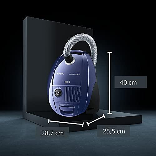 Siemens synchropower Bodenstaubsauger mit Beutel VS06B1110, sehr niedriger Stromverbrauch, HighPower Motor, 4L Beutelvolumen, Hygienefilter, 700 Watt, blau