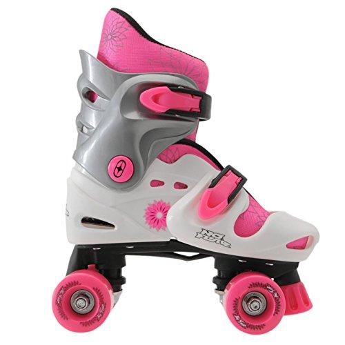 No Fear Kids Quad Skates Girls Skate Shoes Rollers Wheeled WhitePink UK 1 4