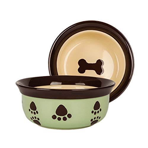 Keramik Pet Bowl Cute Dog Bowl Halsband Bone Print Dog Bowl,Dog Food Bowl Tiernahrung Utensilien Pet Bowl Pet Supplies Geschirr Individualität Geschenke