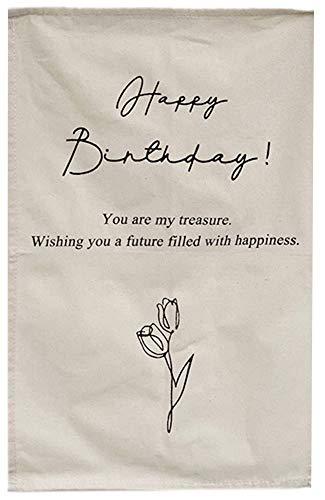 タペストリー レトロ 壁掛け バースデー 飾り チューリップイラスト 花柄 ファブリックポスター 壁飾り インテリア おしゃれなカフェ風ウォールアート 誕生日 (Bタイプ)