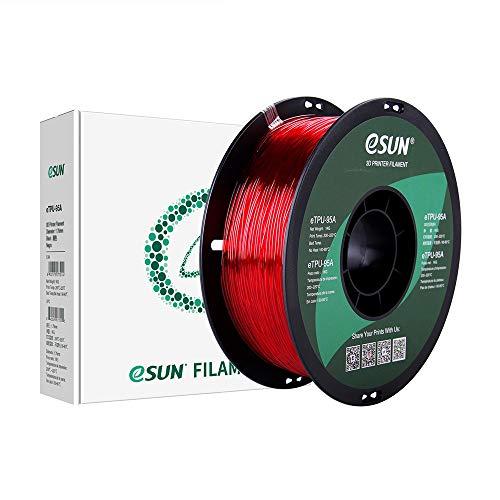 eSUN Filamento TPU Flessibile 1.75mm, Stampante 3D Filamento TPU 95A, Precisione Dimensionale +/- 0.05mm, Bobina da 1KG (2.2 LBS) Materiali di Stampa 3D per Stampante 3D, Rosso Trasparente