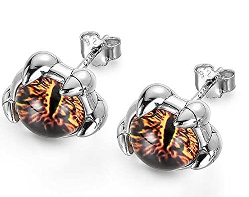 CHXISHOP Pendientes de plata de ley 925 Pendientes de ojo de diablo de cuatro garras Pendientes de hombre Ins diseño de marea de nicho de moda Cool Pendientes individuales de gama alta un par