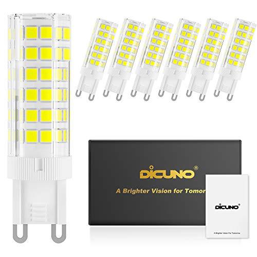 DiCUNO G9 6W Dimmbar LED Lampe, 550LM, Tageslicht Kaltweiß 6000K, 220-240V, Ersatz für 60W Halogen Leuchtmittel, Bi-Pin G9 Sockel, (6er-Pack)