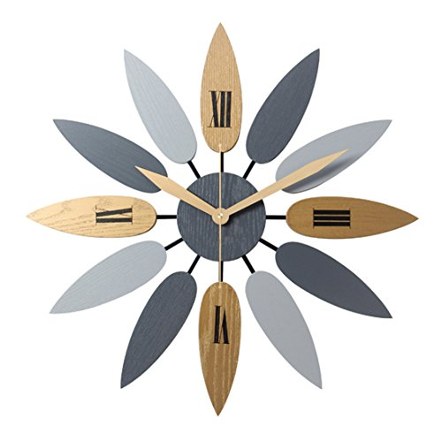 PeleusTech Large Art Wall Clock Leaf Large Wall Clock Silent Wall Clock for Decorative Living Room – 20Inch/52cm