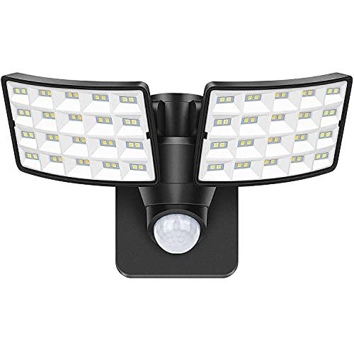 LUOWAN LED Strahler mit Bewegungsmelder Außen 20W Außenstrahler 5000K Led Flutlicht mit 2 verstellbaren Köpfen IP65 Wasserdicht Sicherheitslicht Flutlichtstrahler für Garten Garage Terrasse Hof