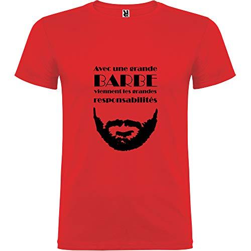 Tip Top - Camiseta para Hombre con una Gran Barba Vienen Las gandes Responsabilidades, Color Rojo Impression Noire L