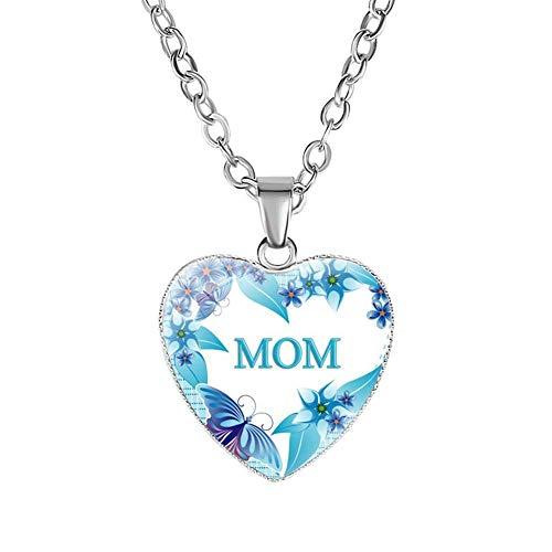 Collar del día de la madre, colgante de corazón, mensaje de amor, collar de cadena de clavícula para mamá, joyería, regalos para mujeres y niñas